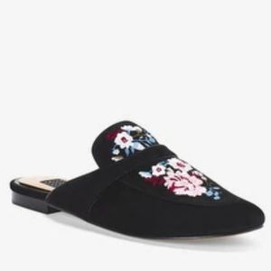 WHBM Embroidered Suede Slides Sz 8.5